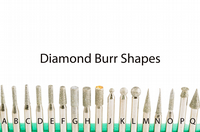 Diamond coated grinding burrs and points